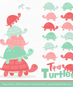 Mint & Coral Turtle Stack Clipart Vectors