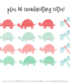Mint & Coral Turtle Stack Clipart Vectors