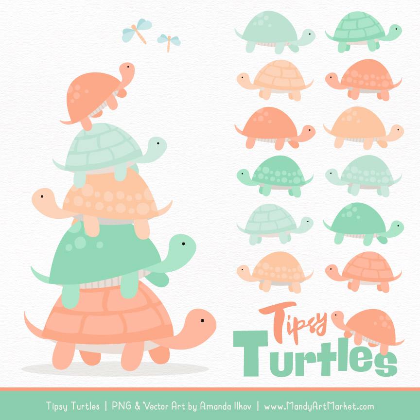 Mint & Peach Turtle Stack Clipart Vectors