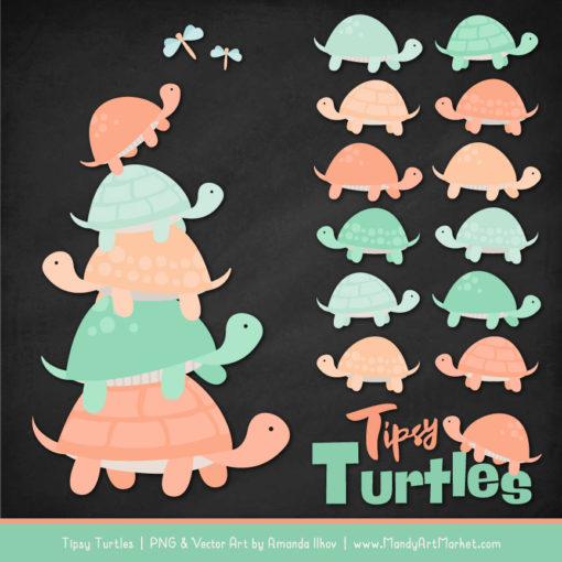 Mint & Peach Turtle Stack Clipart Vectors