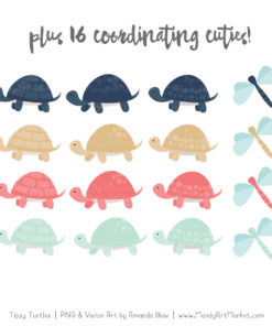 Modern Chic Turtle Stack Clipart Vectors