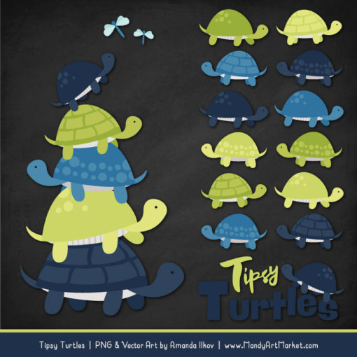 Navy & Bamboo Turtle Stack Clipart Vectors