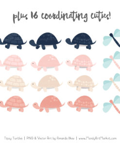 Navy & Blush Turtle Stack Clipart Vectors