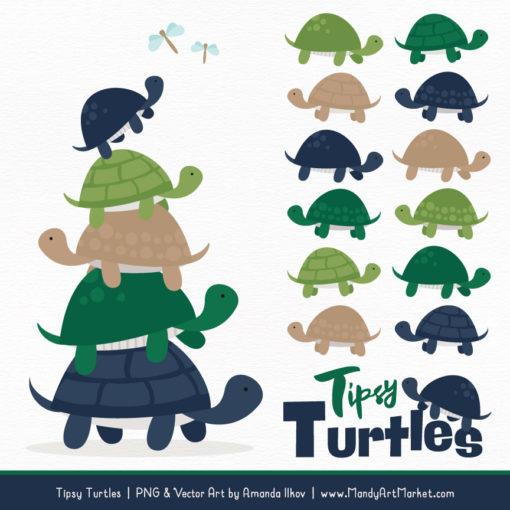 Navy & Emerald Turtle Stack Clipart Vectors