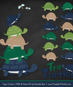 Navy & Emerald Turtle Stack Clipart Vectors