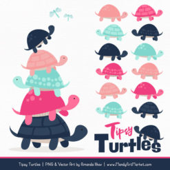 Navy & Hot Pink Turtle Stack Clipart Vectors