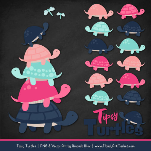 Navy & Hot Pink Turtle Stack Clipart Vectors