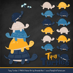 Navy & Lemon Turtle Stack Clipart Vectors
