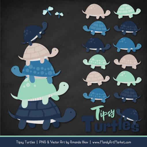 Navy & Mint Turtle Stack Clipart Vectors