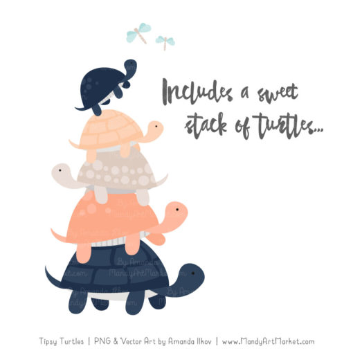 Navy & Peach Turtle Stack Clipart Vectors