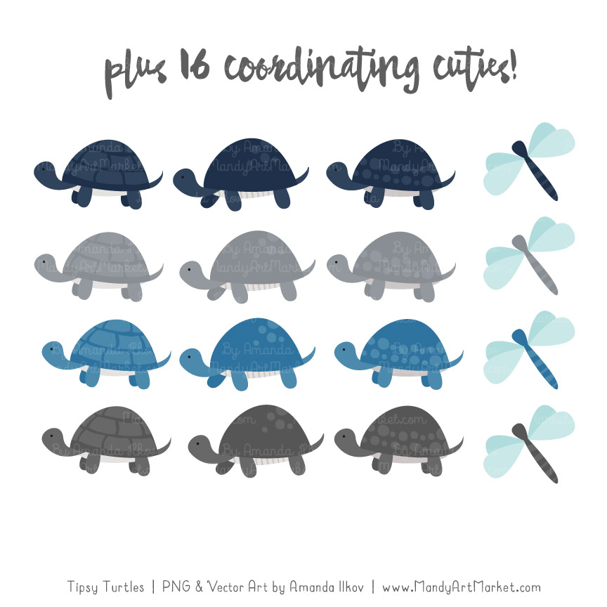 Navy & Pewter Turtle Stack Clipart Vectors