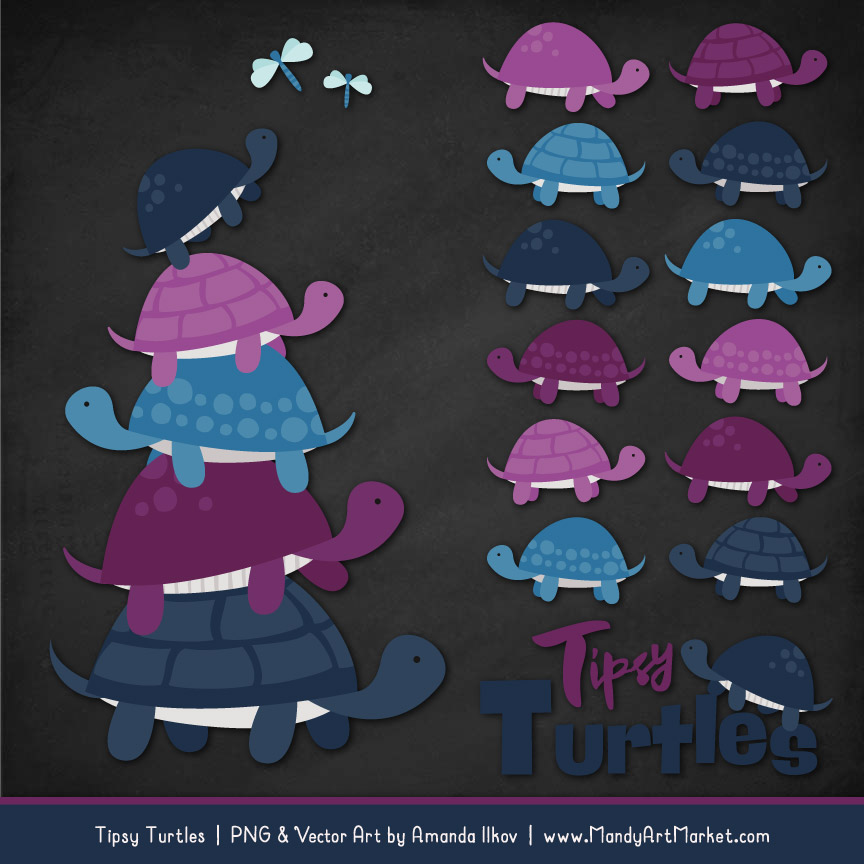 Navy & Plum Turtle Stack Clipart Vectors