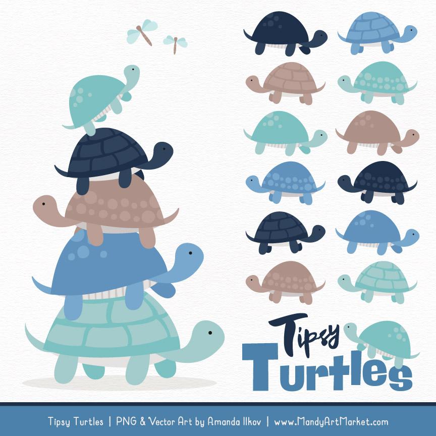Oceana Turtle Stack Clipart Vectors