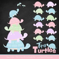 Pastel Turtle Stack Clipart Vectors