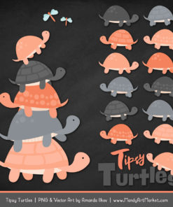 Peach & Pewter Turtle Stack Clipart Vectors