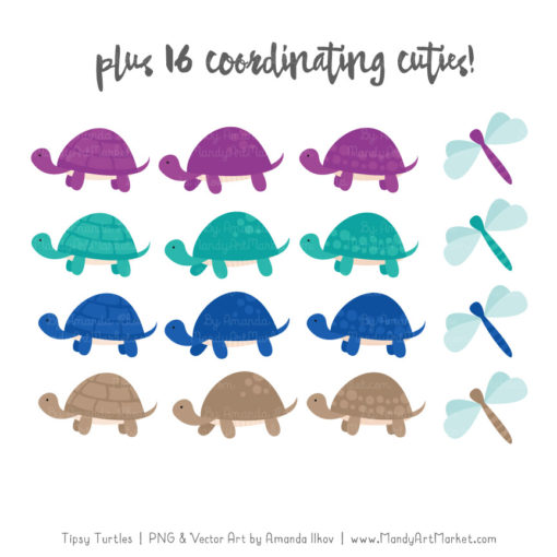 Peacock Turtle Stack Clipart Vectors