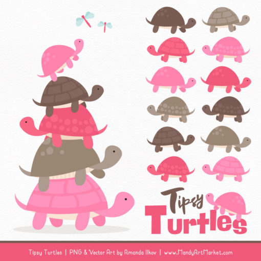 Pink & Brown Turtle Stack Clipart Vectors