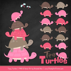 Pink & Brown Turtle Stack Clipart Vectors