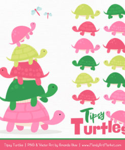 Pink & Green Turtle Stack Clipart Vectors