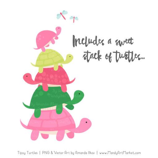 Pink & Green Turtle Stack Clipart Vectors