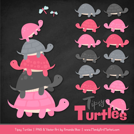 Pink & Pewter Turtle Stack Clipart Vectors