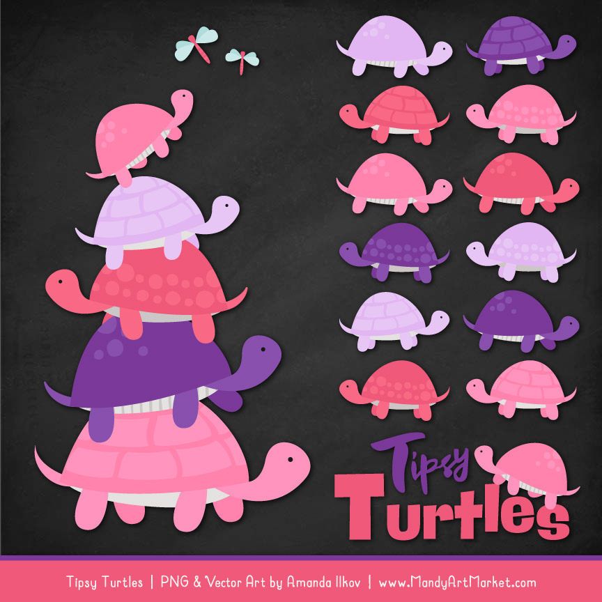 Pink & Purple Turtle Stack Clipart Vectors