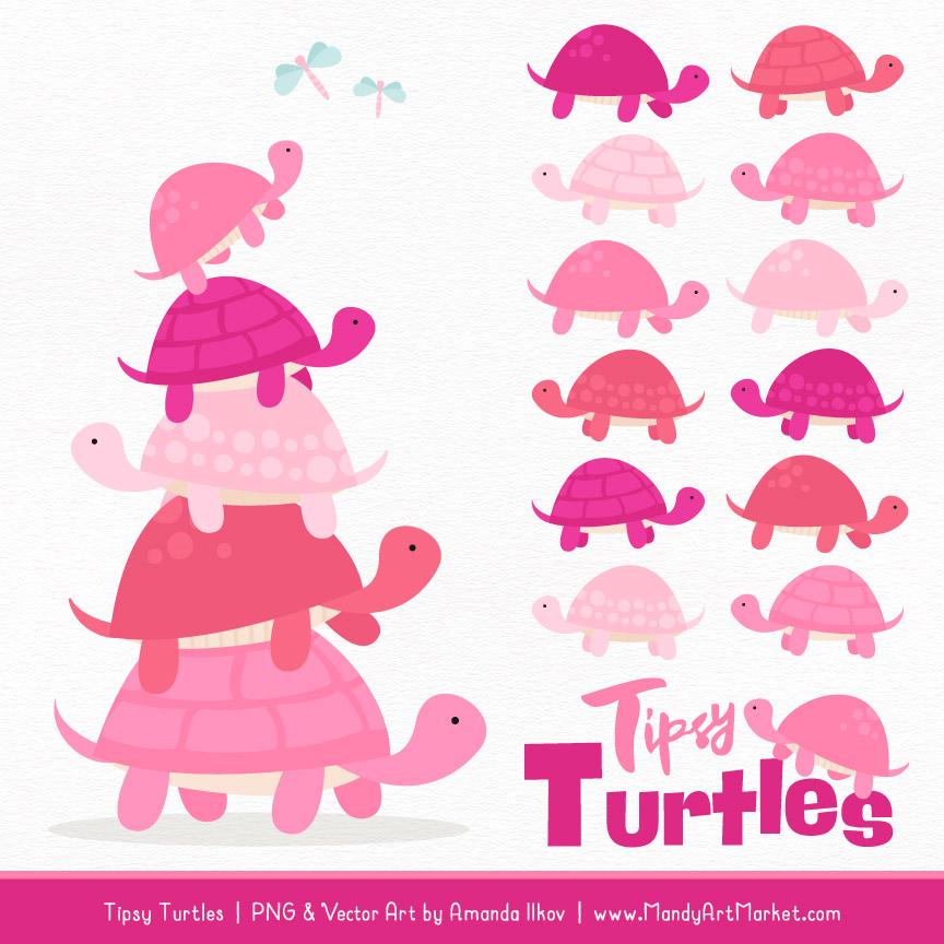 Pink Turtle Stack Clipart Vectors