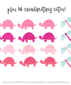 Pink Turtle Stack Clipart Vectors
