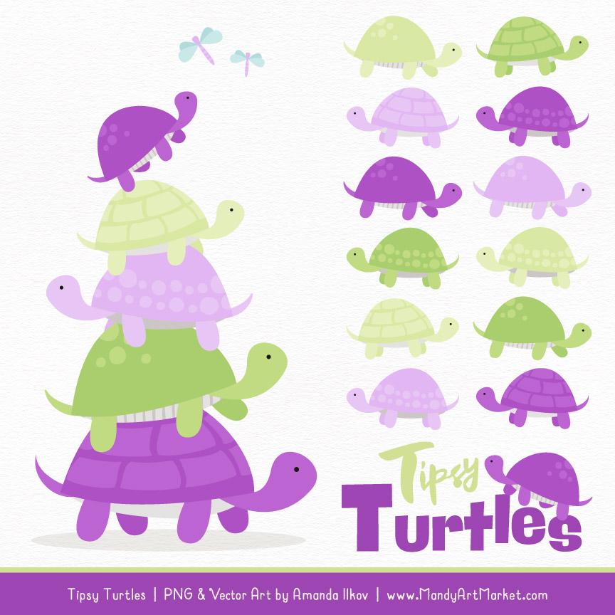 Purple & Lime Turtle Stack Clipart Vectors