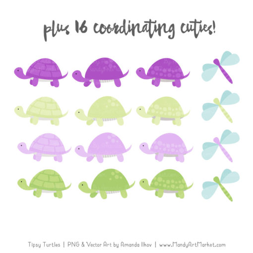 Purple & Lime Turtle Stack Clipart Vectors