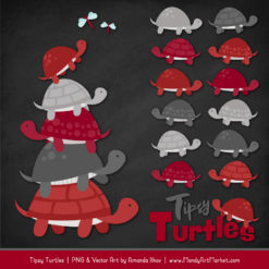 Red & Pewter Turtle Stack Clipart Vectors