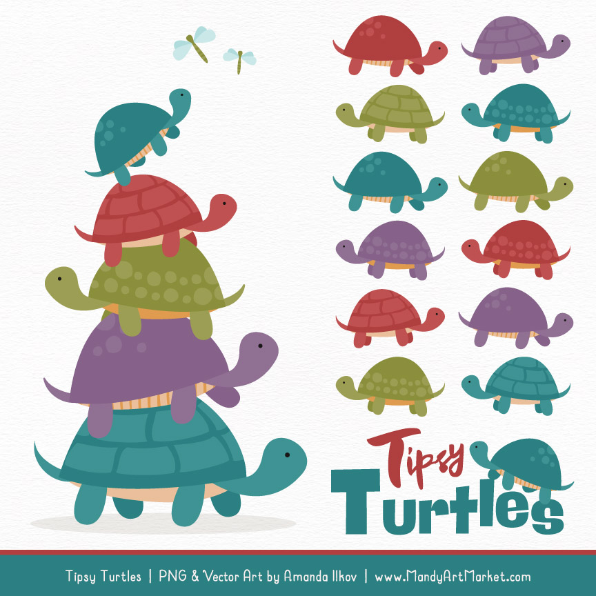 Retro Bold Turtle Stack Clipart Vectors