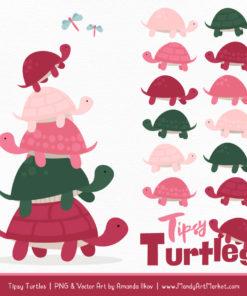 Rose Garden Turtle Stack Clipart Vectors