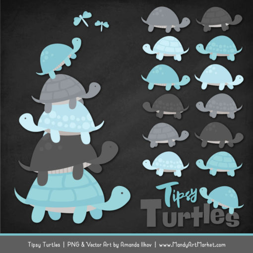 Soft Blue & Pewter Turtle Stack Clipart Vectors