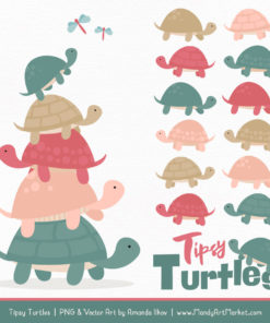 Soft Christmas Turtle Stack Clipart Vectors