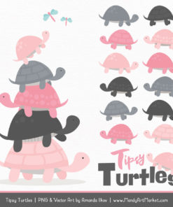 Soft Pink & Pewter Turtle Stack Clipart Vectors