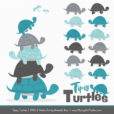 Vintage Blue & Pewter Turtle Stack Clipart Vectors