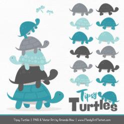 Vintage Blue & Pewter Turtle Stack Clipart Vectors