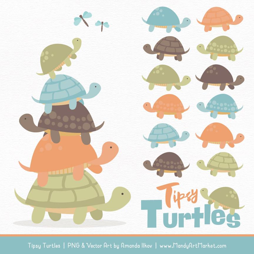 Vintage Boy Turtle Stack Clipart Vectors