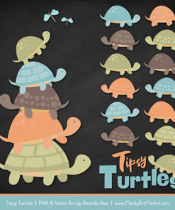 Vintage Boy Turtle Stack Clipart Vectors
