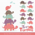 Vintage Girl Turtle Stack Clipart Vectors