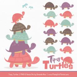 Vintage Girl Turtle Stack Clipart Vectors