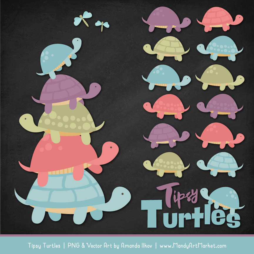 Vintage Turtle Stack Clipart Vectors