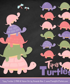 Wildflowers Turtle Stack Clipart Vectors