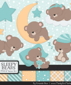 Aqua Sleepy Bears Clipart & Paper Vectors
