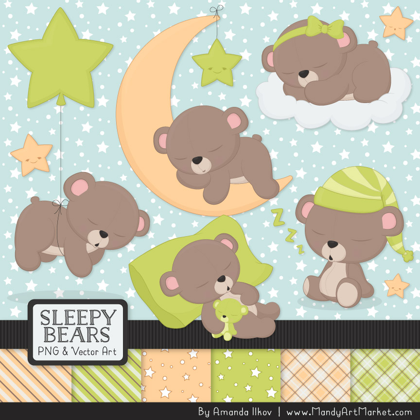 Bamboo Sleepy Bears Clipart & Paper Vectors
