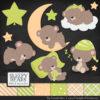 Bamboo Sleepy Bears Clipart & Paper Vectors