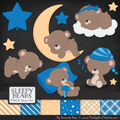 Blue Sleepy Bears Clipart & Paper Vectors