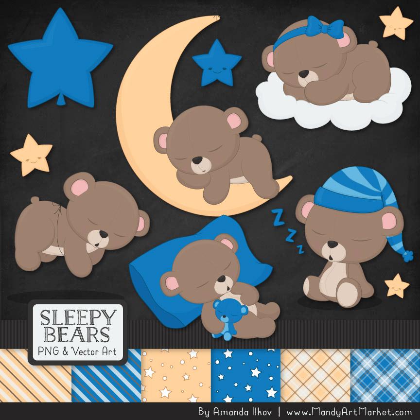 Blue Sleepy Bears Clipart & Paper Vectors