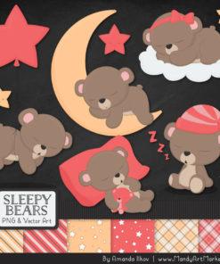 Coral Sleepy Bears Clipart & Paper Vectors